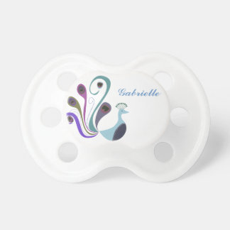 Girly Beautiful Personalized Baby Name w/Peacock Pacifier