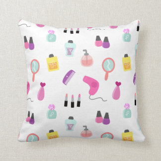 Girly Beauty and Grooming Pattern for Girls Room Pillows