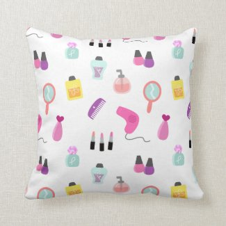 Girly Beauty and Grooming Pattern for Girls Room Throw Pillow