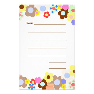 Girly Beginners Lined Writing Paper Stationery