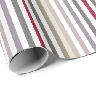 Girly Beige and Red Big Horizontal Stripes Pattern Wrapping Paper