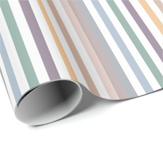 Girly Beige Blue Wide Horizontal Stripes Pattern Wrapping Paper