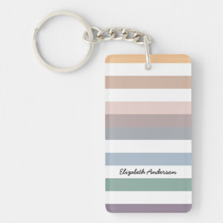 Girly Beige Blue Wide Horizontal Stripes With Name Keychain