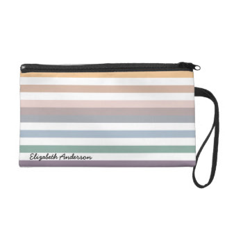 Girly Beige Blue Wide Horizontal Stripes With Name Wristlet Purse