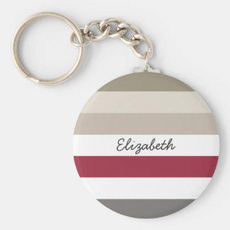 Girly Beige Red Big Horizontal Stripes With Name Keychain