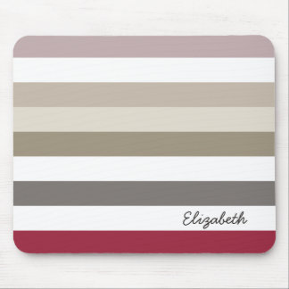 Girly Beige Red Big Horizontal Stripes With Name Mouse Pad