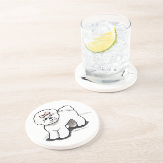 Girly Bichon Frise Drink Coaster