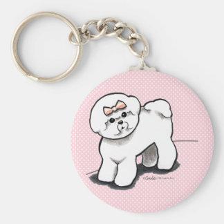 Girly Bichon Frise Keychain