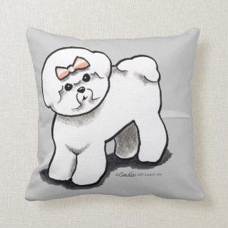 Girly Bichon Frise Throw Pillow