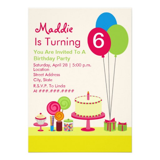 Girly Birthday Party - Cake Balloons Candy Cupcake Custom Announcement