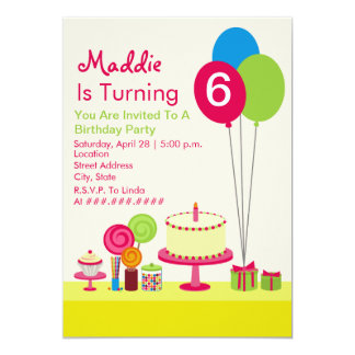 Girly Birthday Party - Cake Balloons Candy Cupcake 5x7 Paper Invitation Card