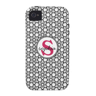 Girly Black and White Flowers Hot Pink Monogram Vibe iPhone 4 Case