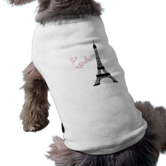 Girly Black and White French Style Eiffel Tower Dog T Shirt