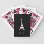 Girly Black and White French Style Eiffel Towers Bicycle Playing Cards