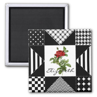 Girly Black and White Geometric Red Rose With Name 2 Inch Square Magnet