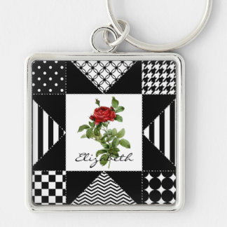 Girly Black and White Geometric Red Rose With Name Silver-Colored Square Keychain