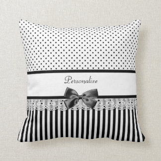 Girly Black and White Victorian Stripes With Name Throw Pillow