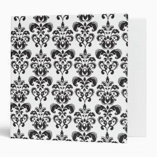 Girly Black and White Vintage Damask Pattern 2 3 Ring Binder