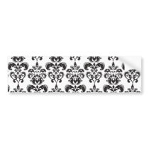 Girly Black and White Vintage Damask Pattern 2 Bumper Sticker