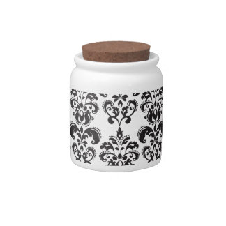 Girly Black and White Vintage Damask Pattern 2 Candy Dishes