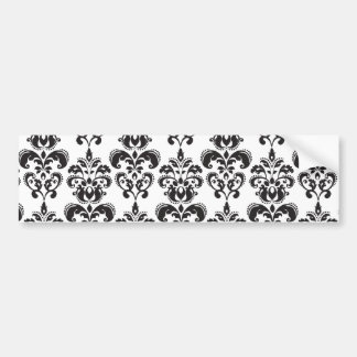 Girly Black and White Vintage Damask Pattern 2 Car Bumper Sticker