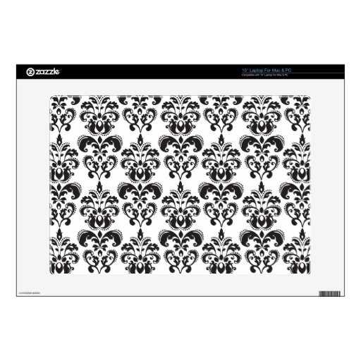 """Girly Black and White Vintage Damask Pattern 2 Decal For 15"""" Laptop"""