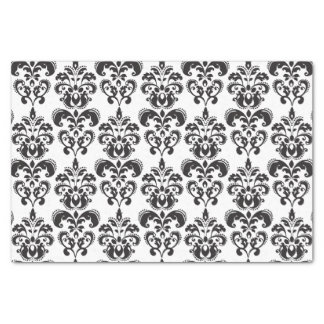 "Girly Black and White Vintage Damask Pattern 2 10"" X 15"" Tissue Paper"