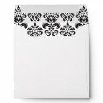 Girly Black and White Vintage Damask Pattern 2 Envelope