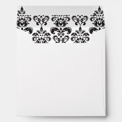 Girly Black and White Vintage Damask Pattern 2 Envelopes