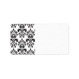 Girly Black and White Vintage Damask Pattern 2 Label