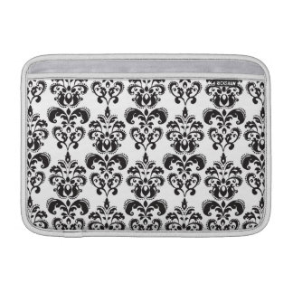 Girly Black and White Vintage Damask Pattern 2 MacBook Air Sleeve
