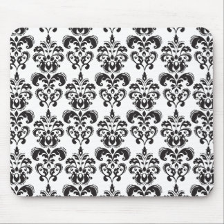 Girly Black and White Vintage Damask Pattern 2 Mouse Pads