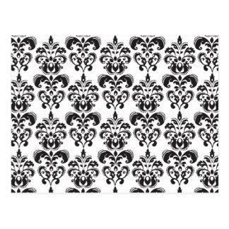 Girly Black and White Vintage Damask Pattern 2 Post Cards