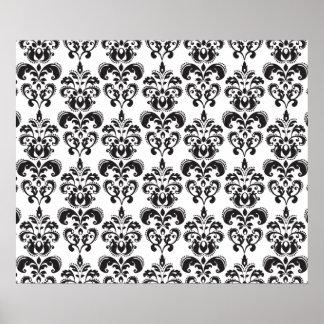 Girly Black and White Vintage Damask Pattern 2 Print