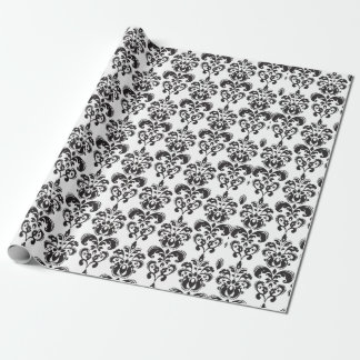 Girly Black and White Vintage Damask Pattern 2 Wrapping Paper