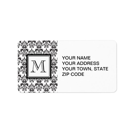 GIRLY BLACK DAMASK PATTERN 2 YOUR INITIAL LABEL