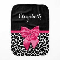 Girly Black Giraffe Animal Print Cute Hot Pink Bow Baby Burp Cloth
