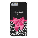 Girly Black Giraffe Animal Print Cute Hot Pink Bow Barely There iPhone 6 Case