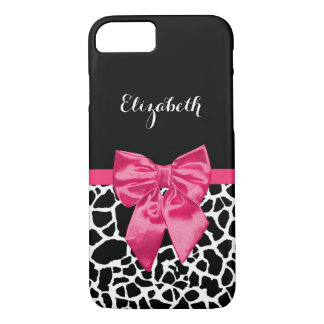 Girly Black Giraffe Animal Print Cute Hot Pink Bow iPhone 7 Case
