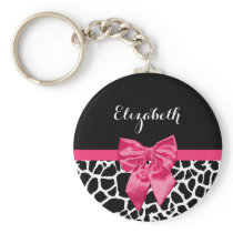 Girly Black Giraffe Animal Print Cute Hot Pink Bow Keychain