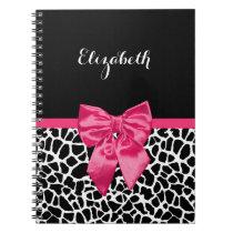 Girly Black Giraffe Animal Print Cute Hot Pink Bow Notebook