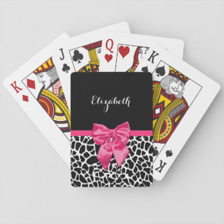 Girly Black Giraffe Animal Print Cute Hot Pink Bow Poker Cards