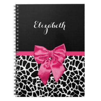 Girly Black Giraffe Animal Print Cute Hot Pink Bow Spiral Notebook