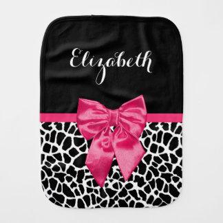 Girly Black Giraffe Animal Print Cute Hot Pink Bow Baby Burp Cloths