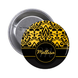 Girly Black Gold Damask Pattern Monogram Pinback Button