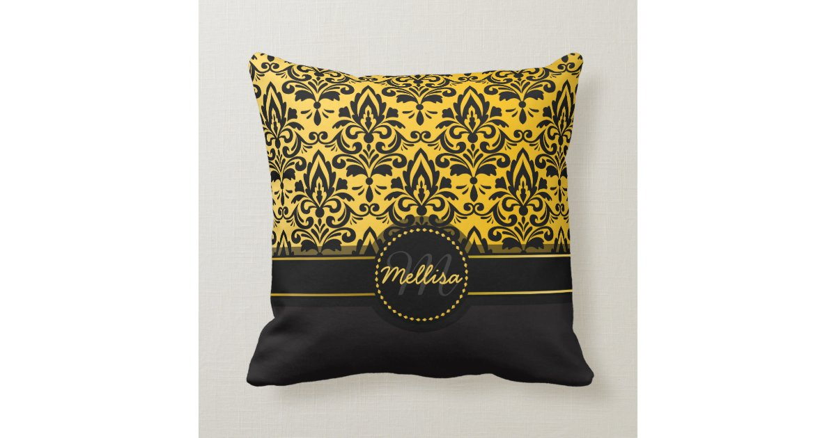Girly Black Gold Damask Pattern Monogram Throw Pillow Zazzle