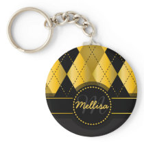 Girly Black Gold Diamond Pattern Monogram Keychain