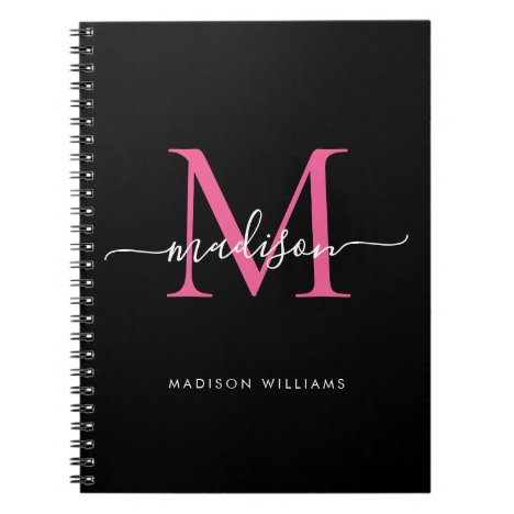 Girly Black Hot Pink Monogram Script Name Initial Notebook