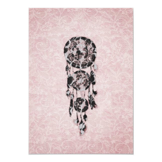Girly Black lace dreamcatcher on pink floral lace Personalized Invites
