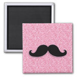 GIRLY BLACK MUSTACHE PINK GLITTER PRINTED 2 INCH SQUARE MAGNET